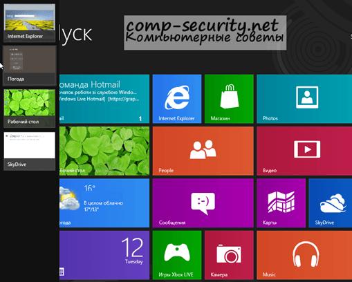 Запущенные программы Metro интерфейса Windows 8