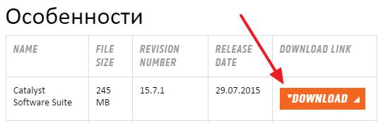кнопка скачивания на сайте AMD