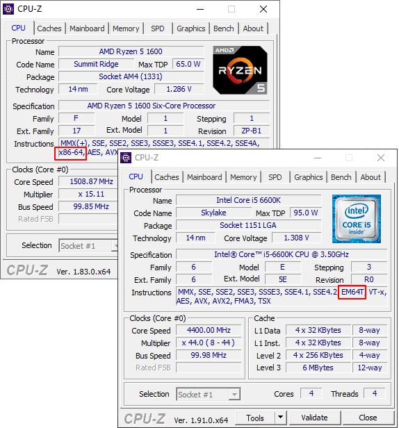 Разрядность процессора в CPU-Z