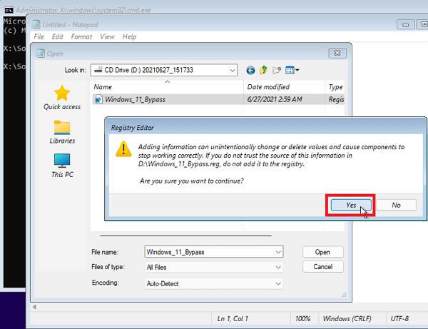 окно с предупреждением о слиянии reg-файла