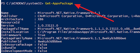 выполняем команду Get-AppxPackage