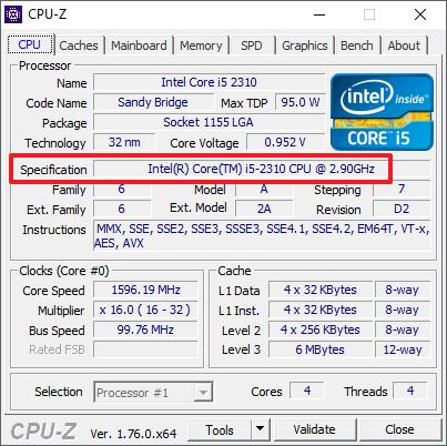 информация о процессоре в CPU-Z
