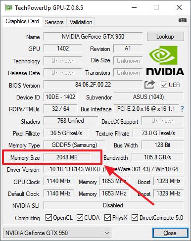 объем памяти видеокарты в программе GPU-Z