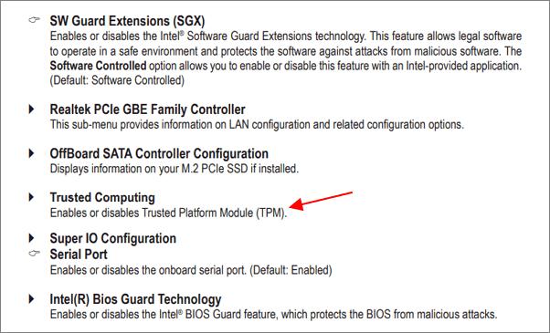 включение внешнего TPM модуля