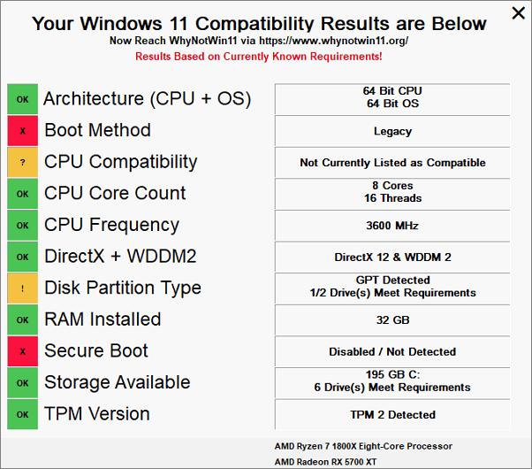 WhyNotWin11 – альтернативная утилита для проверки совместимости