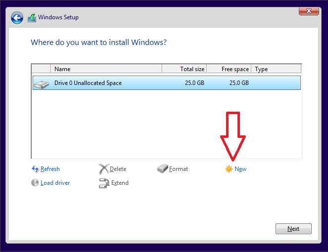 создание нового раздела под Windows 10