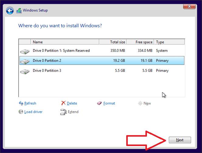установка Windows 10 на выбранный раздел