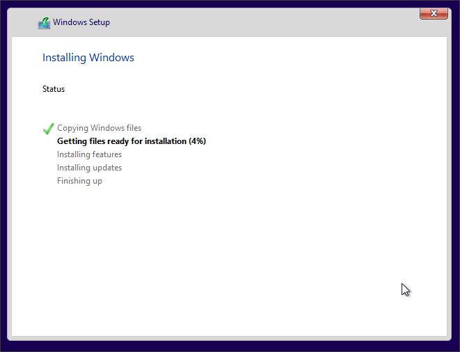 процесс установки Windows 10 с флешки