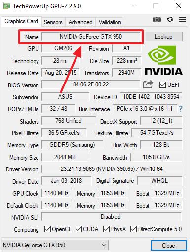 название видеокарты в GPU-Z