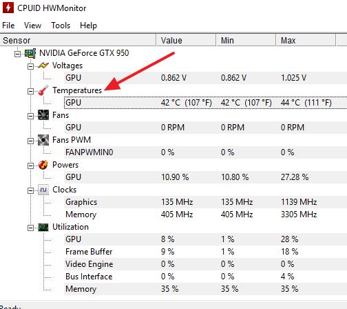 температура GPU в HWmonitor