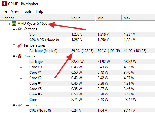 название ЦП и его температура в HWmonitor