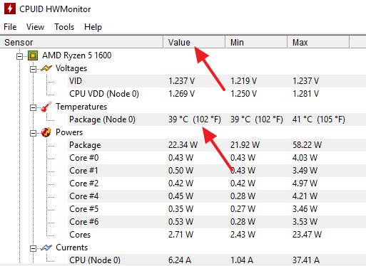 текущая температура ЦП в HWmonitor