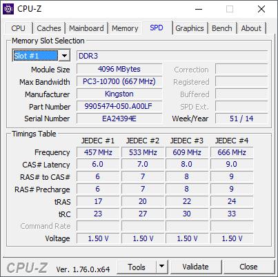 характеристики оперативной памяти в программе CPU-Z