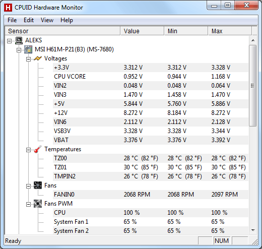 интерфейс программы HWMonitor