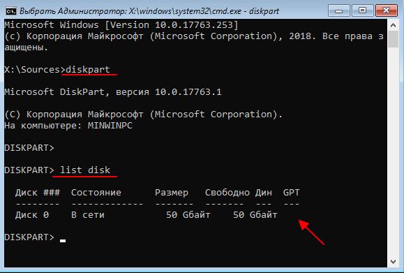 команды diskpart и list disk