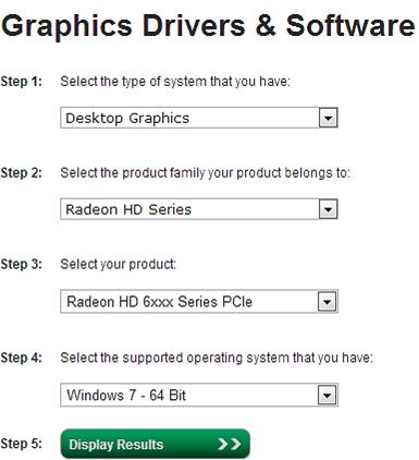 Поиск драйвера для видеокарты от ATI/AMD