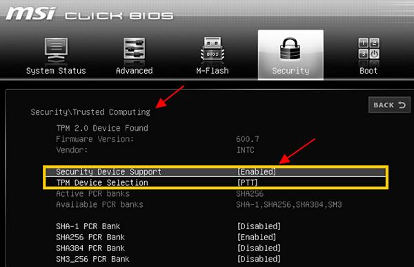 TPM 2.0 на платах MSI для Intel