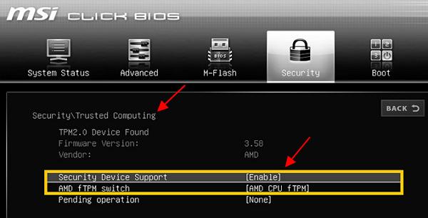 TPM 2.0 на платах MSI для AMD