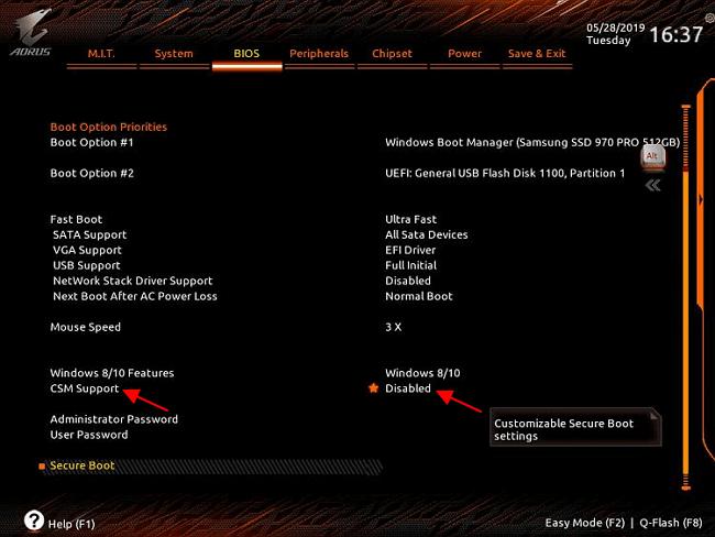 отключить функцию CSM Support