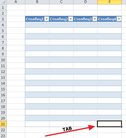 добавление строки с помощью клавиши TAB