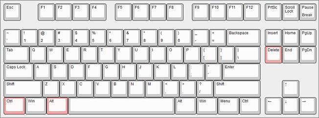 комбинация клавиш CTRL-ALT-DELETE