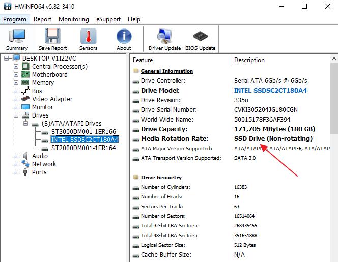 SSD диск в программе HWiNFO