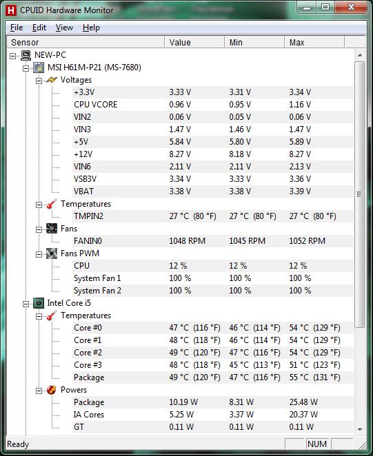 Как узнать характеристики компьютера HWMonitor
