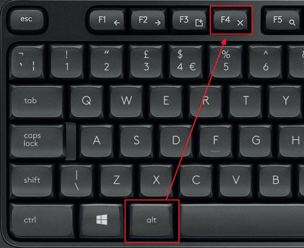 комбинация клавиш ALT-F4