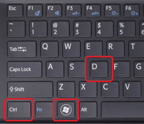 комбинация клавиш Windows+Ctrl+D
