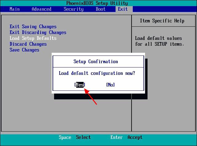 подтверждение сброса настроек в BIOS