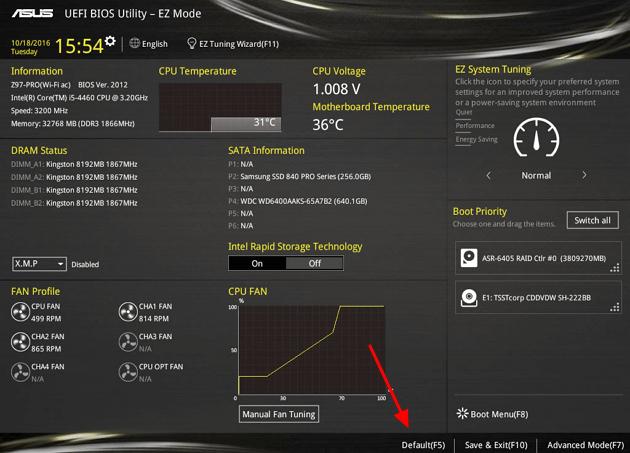 сброс настроек в UEFI BIOS