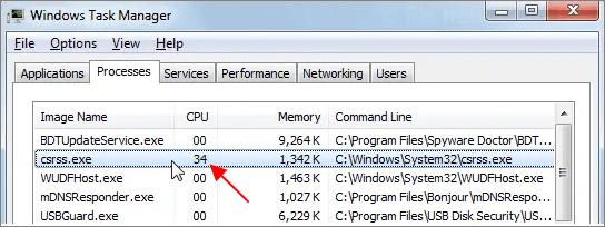 Csrss.exe грузит процессор