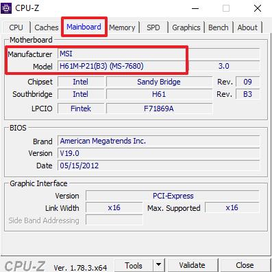 информация о материнской плате в CPU-Z