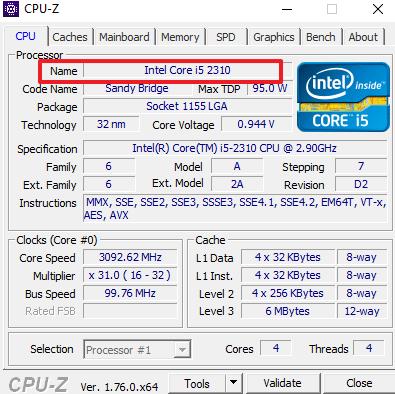 модель процессора в CPU-Z