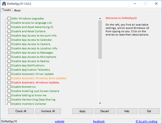 программа для отключения слежки DoNotSpy 10