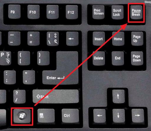 комбинация клавиш Windows + Pause / Break