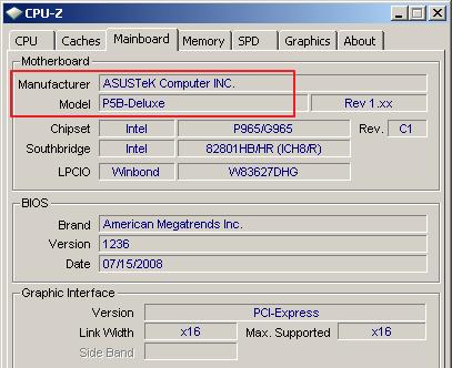 название материнской платы в программе CPU-Z