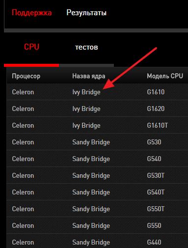 список поддерживаемых процессоров на сайте производителя