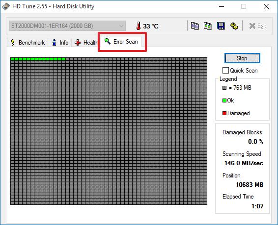 проверка жесткого диска в программе HD Tune
