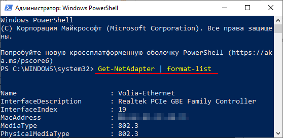 список всех сетевых подключений через PowerShell