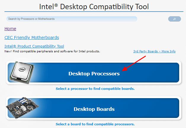 кнопка Desktop Processors
