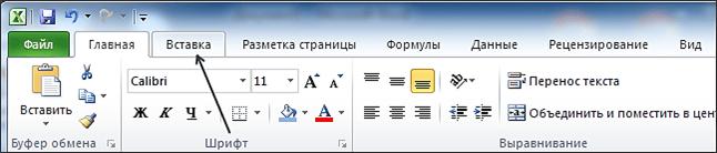 Как построить график в Excel - вкладка Вставка