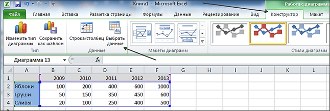 Как построить график в Excel - выбор данных