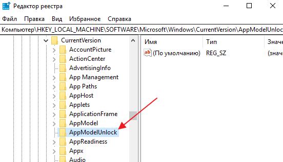 раздел AppModelUnlock в реестре Windows 10