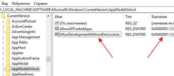 включение Режима разработчика через параметры реестра