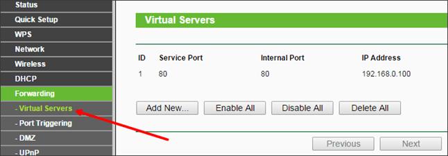 подраздел Virtual Server