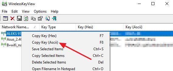 копирование пароля из программы WirelessKeyView