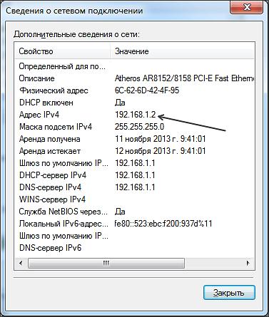 внутренний IP адрес