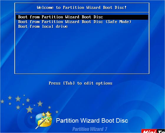 меню загрузочного диска с программой Partition Wizard