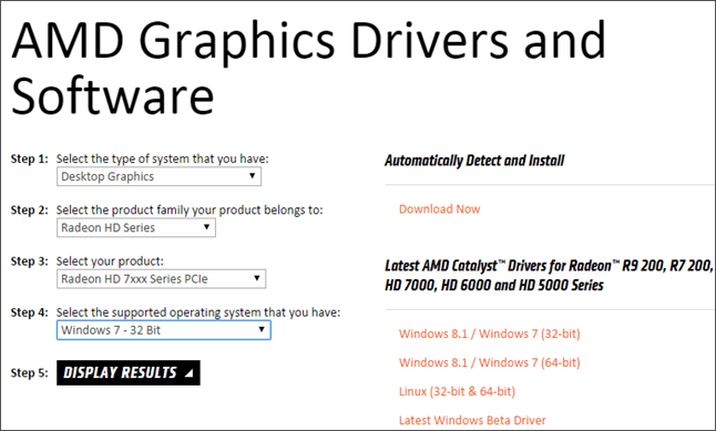 поиск драйвера для видеокарты AMD Radeon